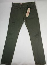 Levis Mens 511 Slim Fit Green Odin Destructed Distressed Jeans 28x32