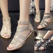 Fashion Women Crystal Leather Wedge Gladiator Sandals Fish Mouth Summer Shoes 04