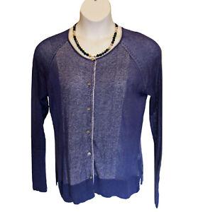 Simply Vera Wang Cardigan Sweater Size XL Semi Sheer Purple Lightweight Casual