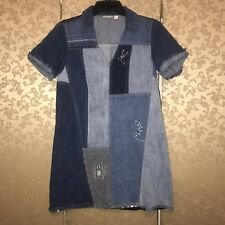 aec5dabbc3 Anthropologie Holding Horses Blue Chambray Denim Patch Sequin Shift Dress 0