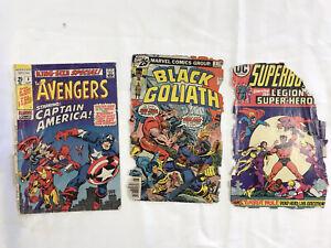3 Silver Age Marvel & D.C. Comics Covers- Avengers, Black Goliath, Superboy- NR
