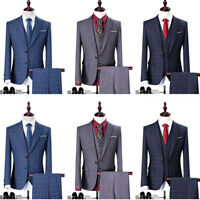 Men's Check Tweed Groom Tuxedos Plaid Wedding Formal Dress Suits 3 Pieces 2019
