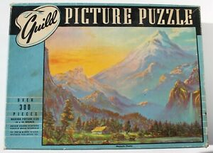 "Vintage 40's Whitman Guild ""Majestic Peaks"" 300+ Pc. Picture Puzzle - Complete!"