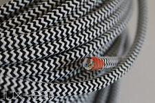 1m Textilkabel Weiss Schwarz  Zick Zack Kabel stoffummantelt 3 x 0,75 Lampe