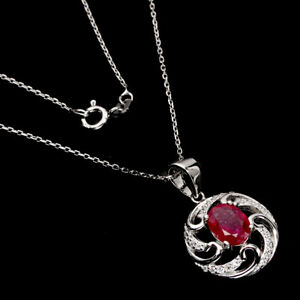 Oval Red Ruby 8x6mm Cz 14K White Gold Plate 925 Sterling Silver Necklace 18 Ins
