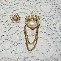 Vtg Estate Gold Tone Faux Pearl Brooch Pin Lot Of 2 Chain Dangle Flower Small