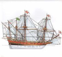 Vintage Historical Barco de Vela Estampado ~ Un Oared Inglés Buque Guerra 1586
