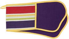 Rushbrookes Cotton Stripe Double Oven Glove Aubergine Reverse - 16160541