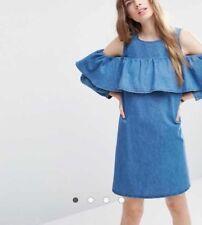 Asos Zara Mango Denim Shift Dress With Cold Shoulder And Ruffle Detail Size 10