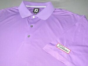 Men's FootJoy Short Sleeved Purple Stretch Titleist Patch Polo Golf Shirt XL