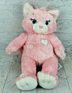 "Build A Bear Marie Aristocats 20"" Plush Pink Cat White Heart Chest Beanie Hands"