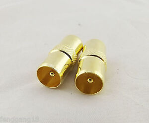 10x Gold IEC TV PAL Male to TV DVB-T Plug Coaxial Straight RF Connector Adapter
