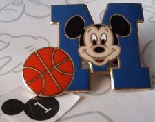 Mickey Mouse Letterman Letter M Basketball Sports Alphabet Face Disney Pin 10723
