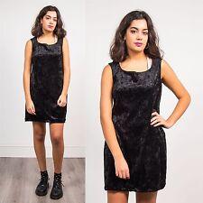 WOMENS VINTAGE BLACK CRUSHED VELVET DRESS SCOOP NECK SHIFT STYLE EVENING 14