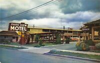 San Jose California~Park View Motel~Water Wheel Sign~1950s Cars~Postcard