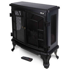 Free Standing Electric 1500W Fireplace Heater Fire Adjustable Flame Stove Remote