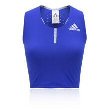 adidas Femmes Adizero Débardeur Haut Court Noir Bleu Sport Gym Respirant Léger