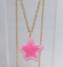 Barbie Pink Large Star Holo Glitter Pendant Necklace E151 kitsch  Gold