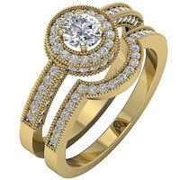 Halo Engagement Bridal Ring Set I1 G 1.50 Ct Round Cut Diamond 14K Yellow Gold