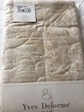Yves Delorme MEDAILLON BEIGE LIGHTLY QUILTED Pair of SMALL BOUDOIR Pillowcases