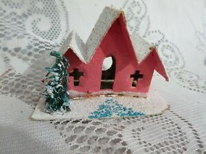 Vintage Small Putz Cardboard Pink Church House Glitter Tree