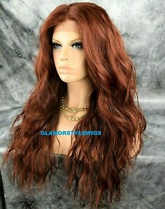 360 Free Part Human Hair Blend Lace Front Wig Long Layered Wavy Brownish Auburn