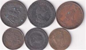 6 DIFFERENT CANADA TOKENS 1812-1837  G27