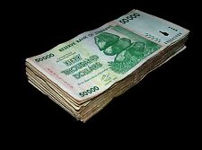 100 x Zimbabwe 50000 Dollar banknotes-full currency money bundle