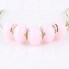 5pcs Jelly Pink MURANO bead LAMPWORK For European Charm Bracelet