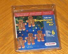Folk Art Gingerbread Men Kit - Makes 6 Beaded Ornaments - vtg 2004 The Beadery