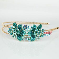 Elegant Rhinestone Crystal Rhodium Prom Bridal Wedding Tiara Flower Headband 186