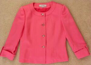 TAHARI Arthur S. Levine Women's Pink Collarless Blazer w/ 3/4 Sleeves, Size 6