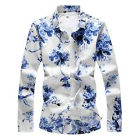 Mens Long sleeve Blouses Floral printed Summer Casual Tops Slim fit Lapel Shirts