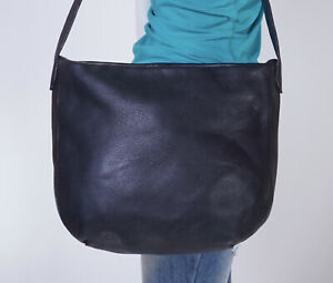 MADE IN ITALY LARGE BLACK LEATHER  Shoulder Hobo Tote Satchel Purse Bag