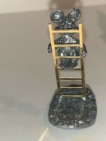 Vintage Ricker Bartlett Pewter Mouse Climbing on Gold Ladder 1988 Signed RB Rare