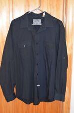 NWOT Bruno New York Mens Dress Shirt Black Cotton Blend Size XL 2 Chest Pockets