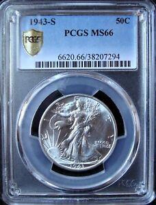 1943-S Walking Liberty Silver Half Dollar - PCGS MS 66 - Gold Shield