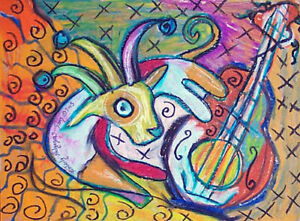 Jester Goat with Guitar 5x7 Art Print Signed by Artist KSams Farm Countryside