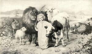 Christian STRUTT Print Easter Art LITTLE CHILD SHALL LEAD THEM Kingdom of Heaven