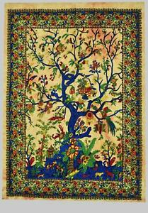 Indian Tree of Life Wall Art Cotton Tapestry Wall Hanging Yoga Mat Fair Trade