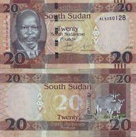 SOUTH SUDAN 20 POUNDS 2015  P NEW UNC