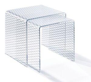 Beistelltisch Zweisatztisch Acrylglas - Material Acryl klar - Siebdruck schwarz