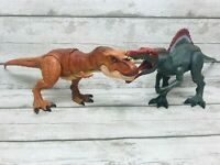 Jurassic World Spinosaurus & Stomp Strike T-Rex Dinosaur Action Figures Bundle