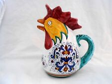 """Signed Deruta Made In Italy Rooster Pitcher 9 3/4"""" Tall Unused Condition w2s7"""