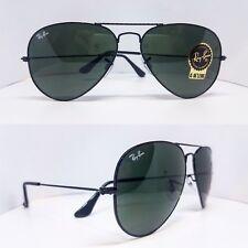 Ray Ban Aviator Unisex Sunglasses Shiny Black G15 Crystal Green 3025 L2823 58mm
