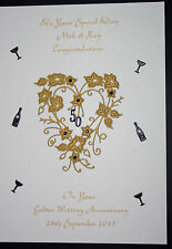 HANDMADE PERSONALISED GOLDEN WEDDING 50th ANNIVERSARY CARD HEART