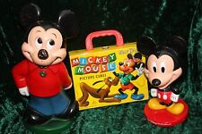 DISNEY COLLECTION VINTAGE MICKEY MOUSE BANK &  BOBBLE HEAD & DISNEY PUZZEL