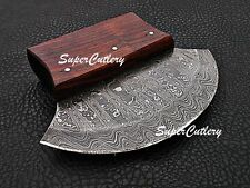 Custom Handmade Damascus Steel Ulu Rose Wood Handle