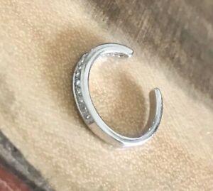 925 Sterling Silver Slim Band Crystal Ear Cuff
