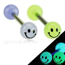 """1pc. 14GA~5/8"""" 316L Surgical Steel Barbell Smile Printed Glow In The Dark Ball"""